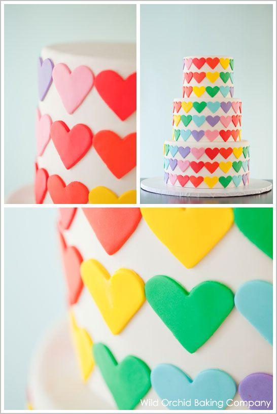 heart rainbow cake via @thecakeblog