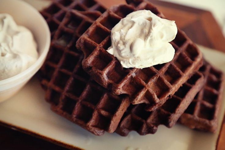 Mexican Dark Chocolate Waffles with Cinnamon Whipped Cream Recipe