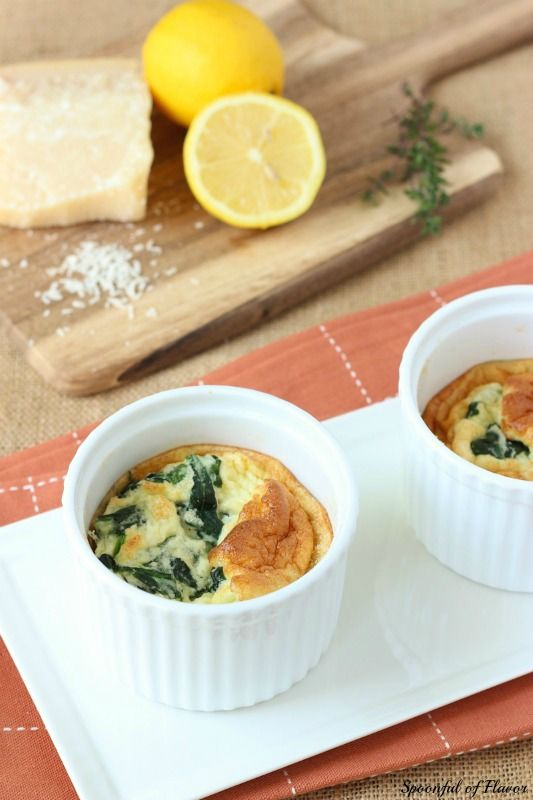 spinach and parmesan egg souffle cups use gf breadcrumbs