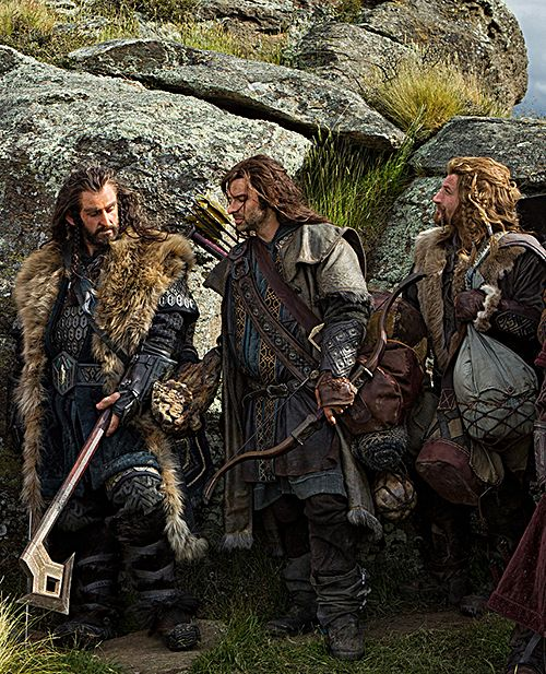 Thorin and his nephews, Kili and Fili.