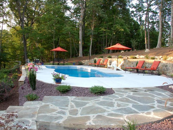 terraced sloped yard pool install outdoor living space pinterest