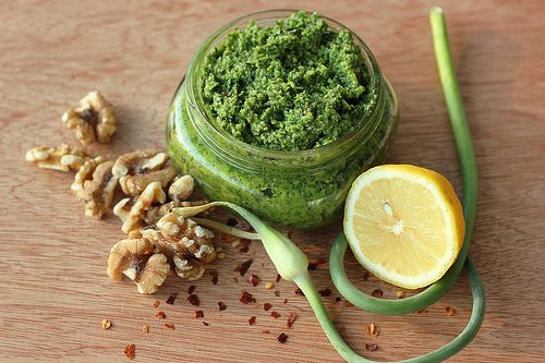 Garlic Shoot and Swiss Chard Pesto | Yummy vegetarian meals | Pintere ...