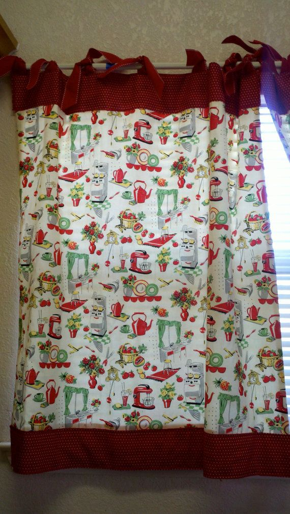 Retro 50 s kitchen cafe curtains red set of 2 by katherinemck 60 00