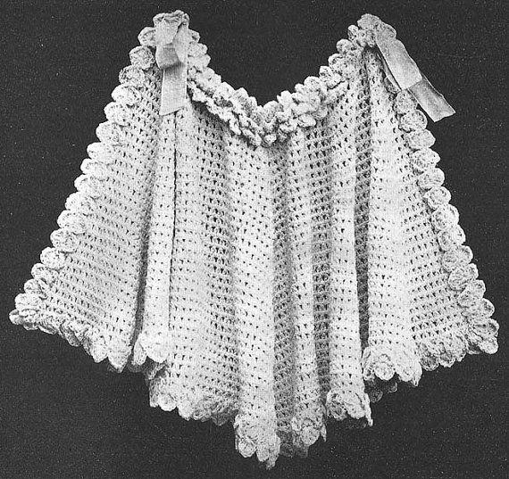 Crochet Patterns For Shawls Vintage : 1908 Pelerine Shawl Vintage Crochet Pattern PDF 076