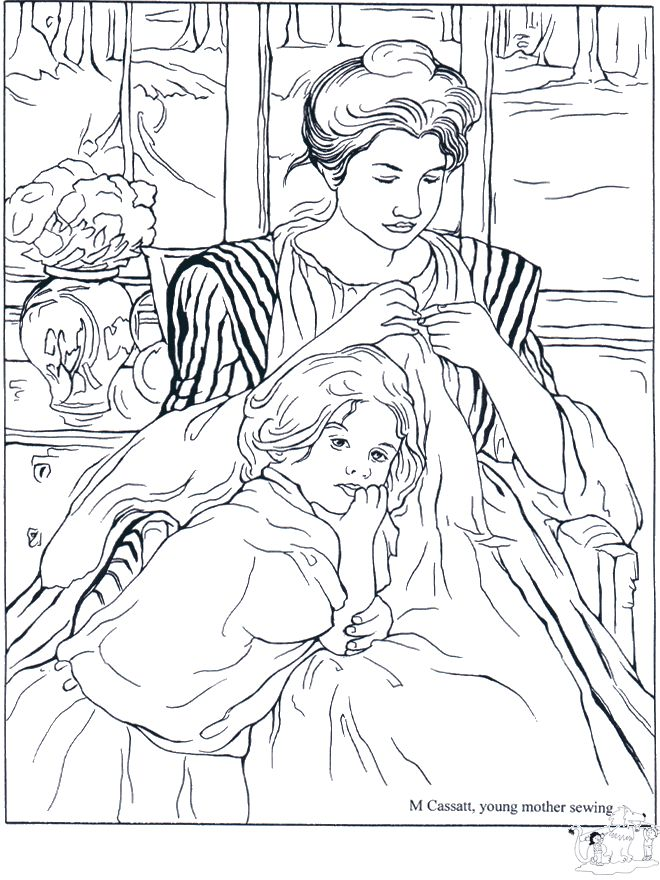 loads of coloring pages from real artists like Cassatt and others.
