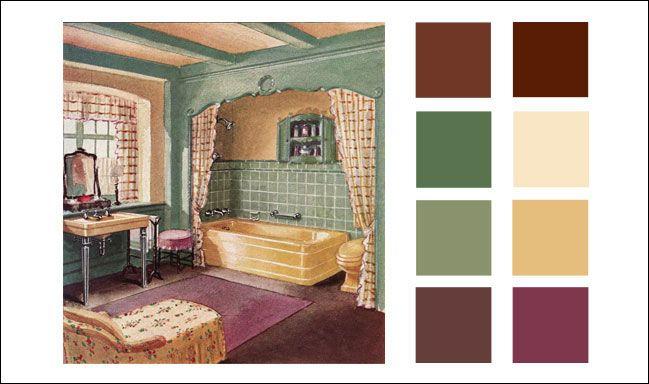 Vintage color palettes on pinterest vintage color schemes vintage - 1930 Crane Bathroom Vintage Graphics Paintings