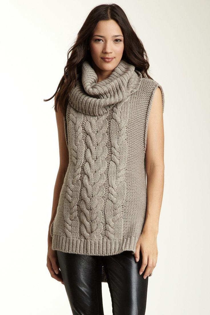 Knitting Pattern For Sleeveless Sweater : Sleeveless Cowl Neck Sweater Vest Knits! Pinterest