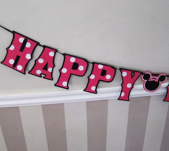 Minnie Mouse HAPpY BiRTHDAY Banner on Etsy.  Thinking I could make this with my Silhouette machine.