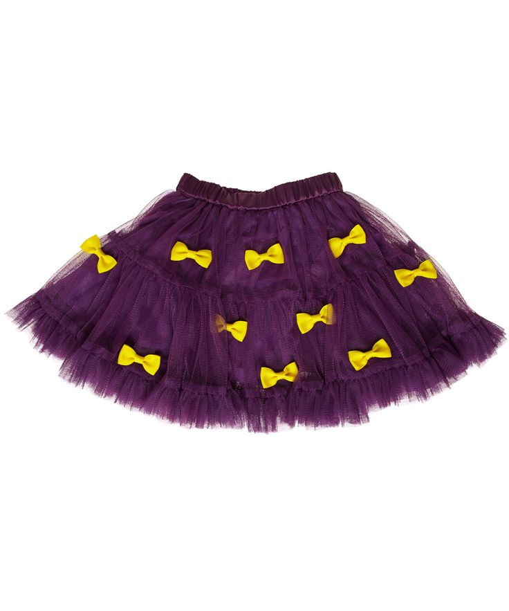 Ej Sikke Lej swirly purple tulle skirt with cute yellow bows #emilea