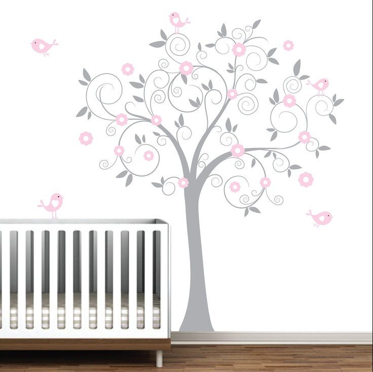pink swirl tree  Julias Room Wall Decals  Pinterest