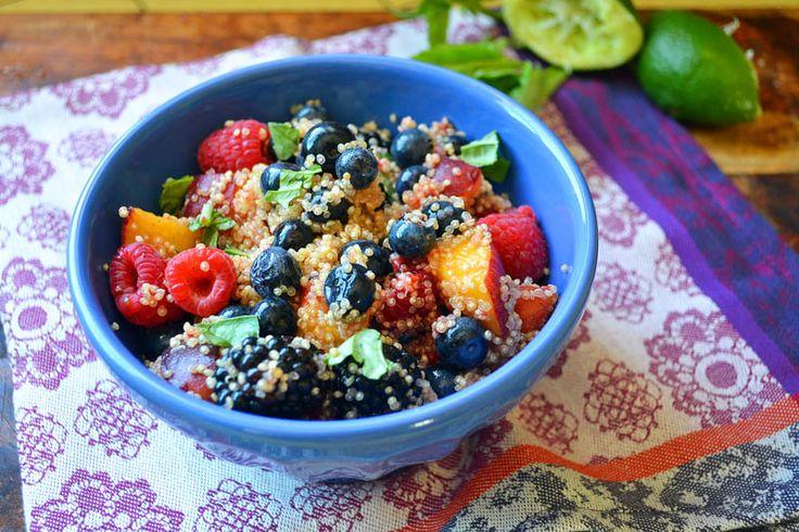 quinoa fruit salad quinoa cooked rasberries blueberries peaches ...