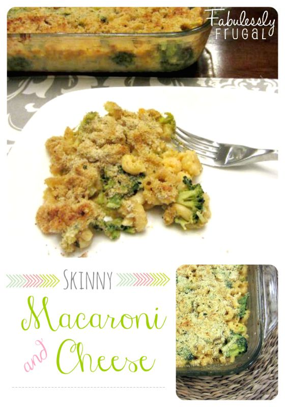 Skinny Baked Macaroni and Cheese with Broccoli Recipe | Fabulessly ...