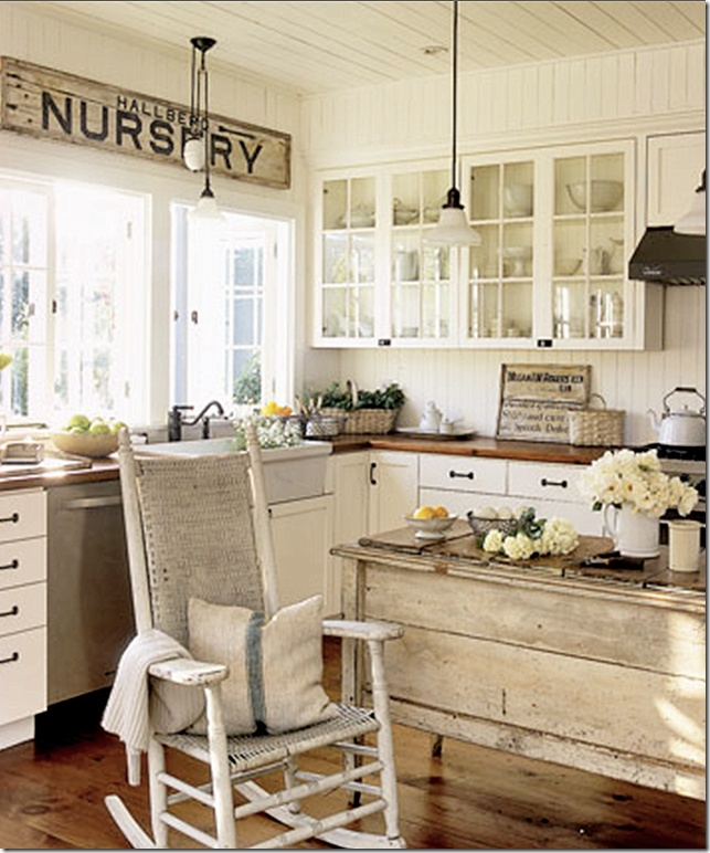 white country kitchen my favorite husbands g'ma always had a rocking chair in her kitchen!