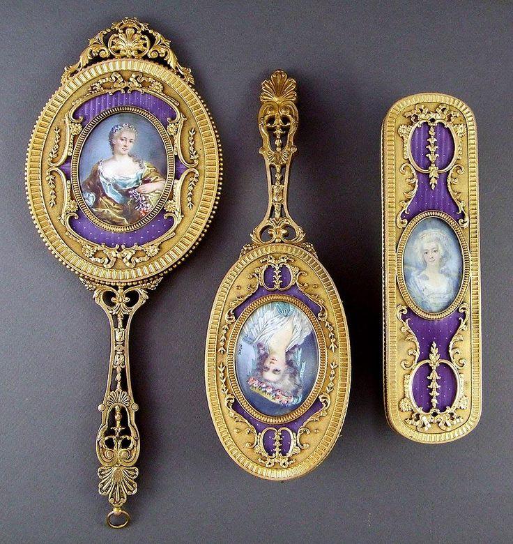 Античный французский эмаль по гильошировке и бронзового миниатюрный портрет 3 шт Зеркало / Кисть набор тщеславия c.19th века