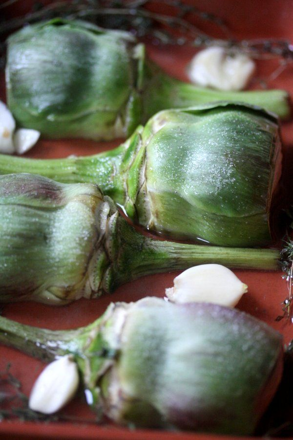 White Wine Braised Artichokes with Thyme | On the Side | Pinterest