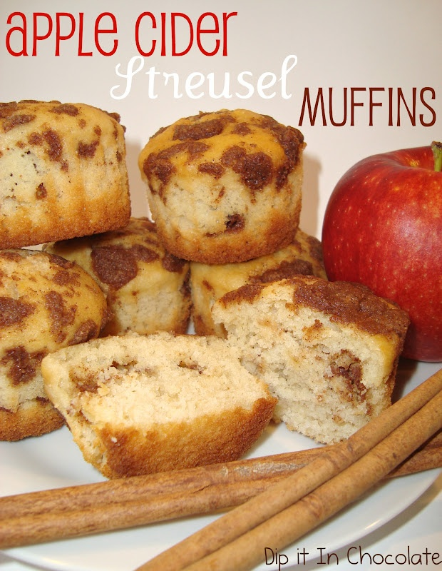 Dip it in Chocolate: Spiced Apple Cider Streusel Muffins