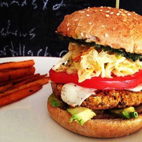 Black bean/butternut burger w/slaw, beefsteak tomato, avocado, @Daiya ...