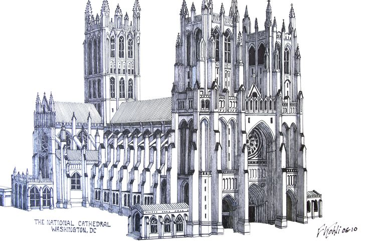 NATIONAL CATHEDRAL Pen And Pencil Drawing By Frederic Kohli Of The