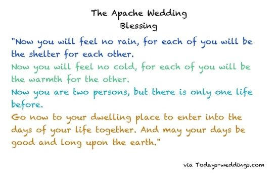 Apache Wedding Vow Blessing