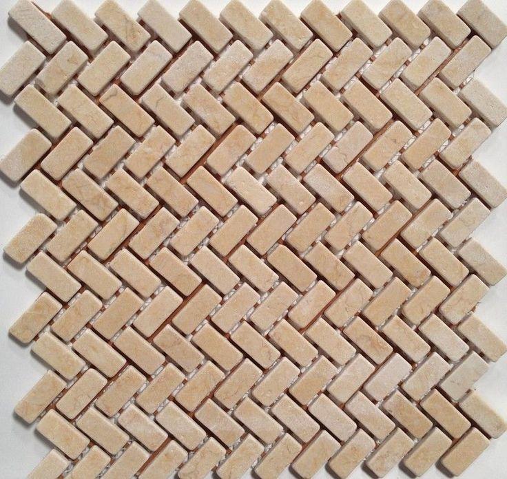 stone mosaic tile backsplash herringbone cream white marble tile 12