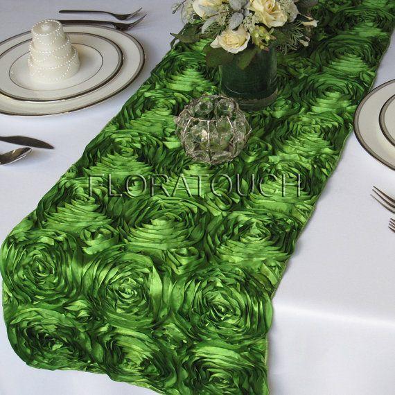 Table $16.00 rosette floratouch, table Rosette Ribbon Wedding  Satin by runner Green Runner wedding
