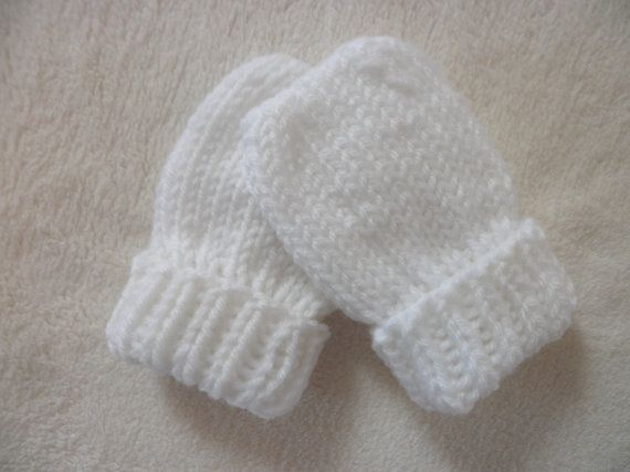 Free Crochet Pattern For Thumbless Mittens : Baby Mittens Thumbless Hand Knit in Sizes Newborn to 18 Months