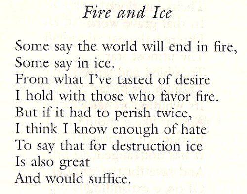 essay robert frost fire ice