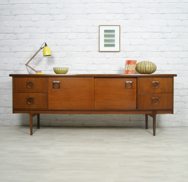 retro vintage teak mid century danish style sideboard tv media unit 1. Black Bedroom Furniture Sets. Home Design Ideas