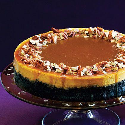 Pumpkin-Orange Cheesecake with Chocolate Crust and Salted Caramel ...