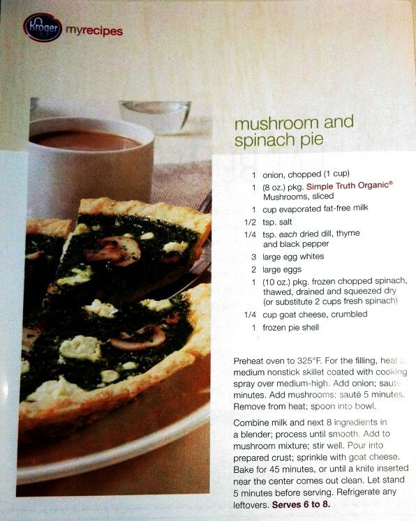 Mushroom & Spinach Pie | Pizza by Another Name - Pizza, Quiche, & Que...