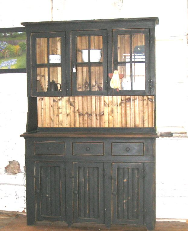 Primitive Furniture 3 Door Hutch Glass Furniture