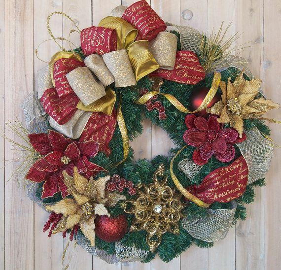 Elegant wreath christmas wreath holiday burundy and gold designer