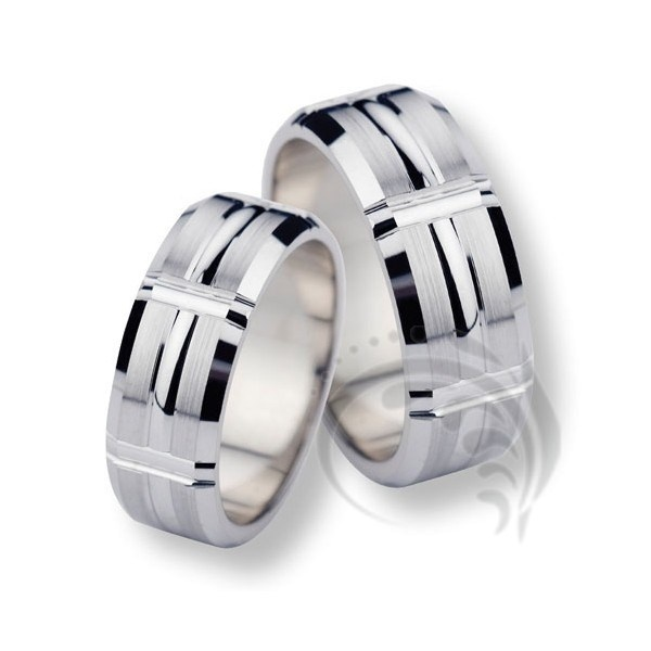 Elegant 14k white Gold His Her Rings 7 mm