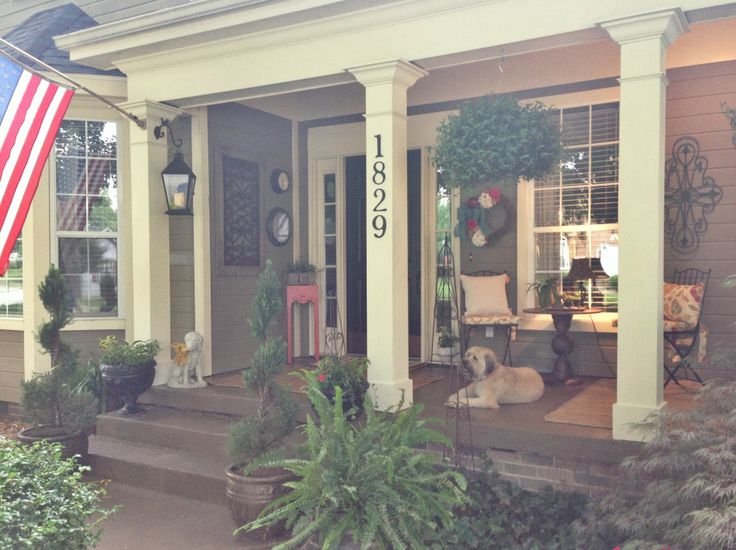 Front porch stained concrete porches pinterest for Stained front porch