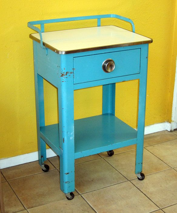 Vintage Metal Rolling Kitchen Medical Cart Closed Sold It
