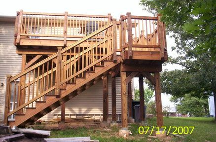 Pin by cindy jacobson on deck stairs pinterest for Second story deck plans pictures