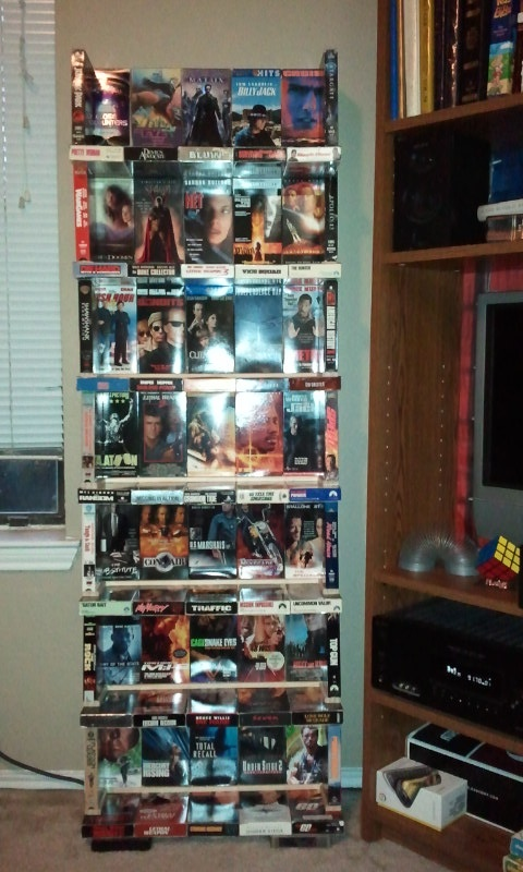 Dvd storage using old vhs tapes cool home decor ideas pinterest - Cool dvd storage ideas ...