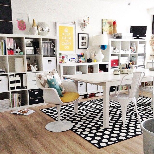 desk table with ikea kallax shelves ikea ideas pinterest. Black Bedroom Furniture Sets. Home Design Ideas