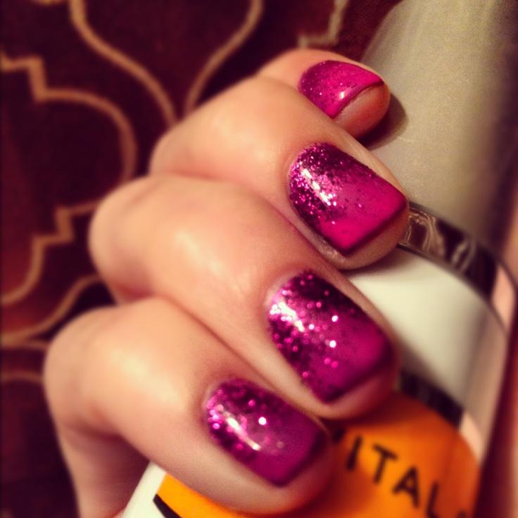 Glitter ombré shellac nails | Nails I ♡ | Pinterest