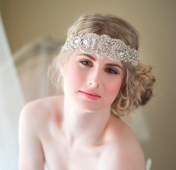 bridal ribbon headband rhinestone ribbon headband wedding head piece