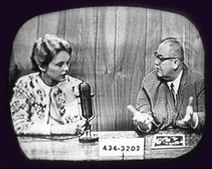 Friends in Nebraska followed the career of Sandy Dennis closely. In the photo from KOLN TV, Sandy is interviewed by local broadcaster Wayne West. Later, she is pictured on the Tonight Show with James Garner. The other TV interviews are not identified. submitted by Marlys Ballard