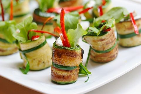 Zucchini Rolls With Goat Cheese And Mint Recipe — Dishmaps