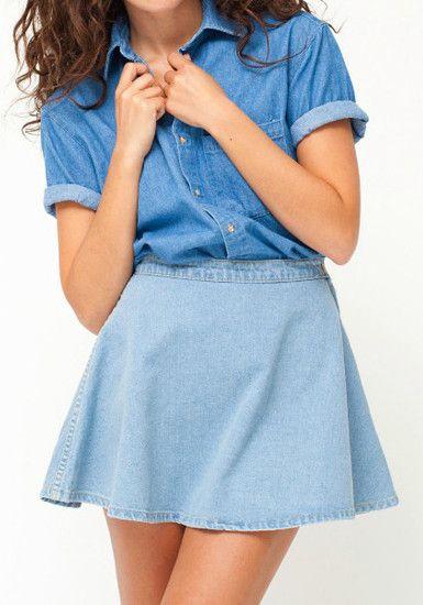 denim skater skirt light blue skirts