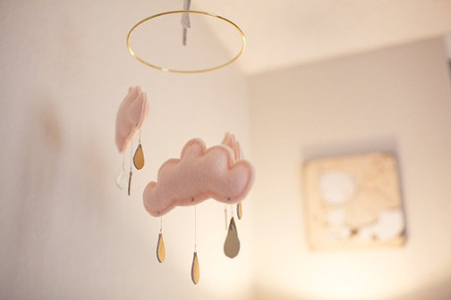 Peach cloud mobile for nursery MAY with gold star by The Butter F