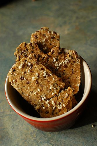 Quinoa Crackers with Sesame Seeds, make without butter use coconut oil