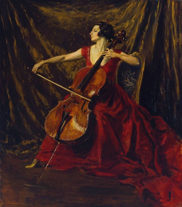 Madame Suggia (1920-3). Augustus John (Welch, 1878‑1961). Oil on canvas. Tate. Guilhermina Suggia was a female cello soloist, then a rarity. The portrait was begun for the newspaper proprietor Edward Hudson, who had given Suggia the Montagnana cello that she plays. However the commission lapsed, and John continued the painting for himself, starting again twice. This has always been thought among the best of John's portraits, for its scale, the accord between design and colour, and its finish.