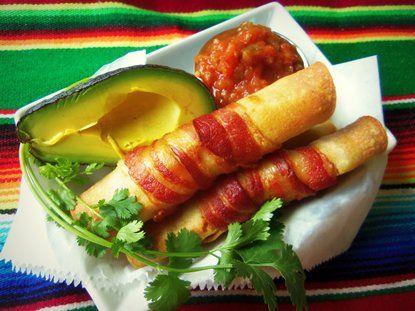 Bacon Wrapped Taquitos - QueRicaVida.com