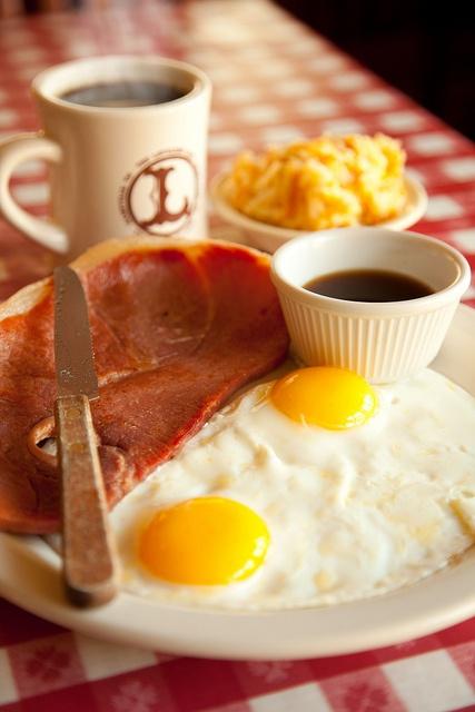 cafe breakfast Ham and red-eye gravy