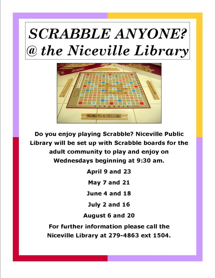 Scrabble your library Adult Library Programs Pinterest