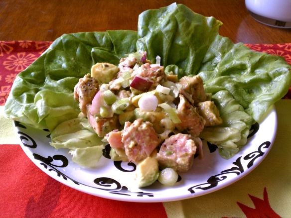 Seared Tuna and Avocado Salad with Wasabi-Lime Dressing